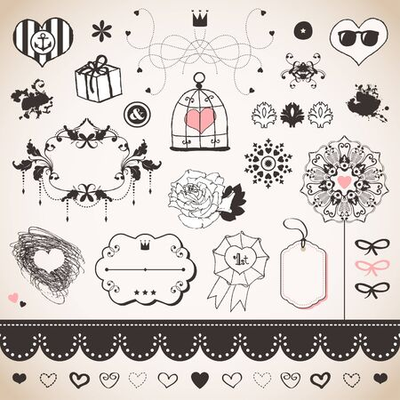 a pink cell: Lovely romantic set for Your design  Illustration