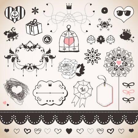 Lovely romantic set for Your design Stock Vector - 18224881