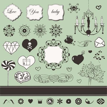 Lovely romantic set for Your design Stock Vector - 18224865