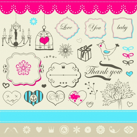 Lovely romantic set for Your design  Illustration