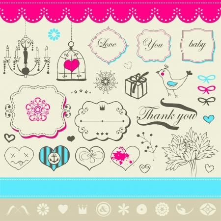Lovely romantic set for Your design Stock Vector - 18224861
