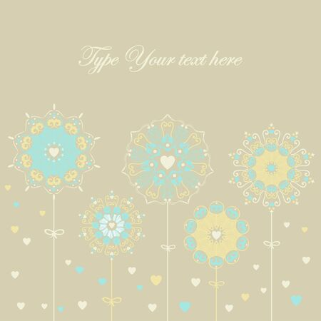 Lovely card with stylized flowers/snowflakes  Stock Vector - 18224874