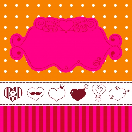 Lovely drawn card with darling hearts  Stock Vector - 18242296