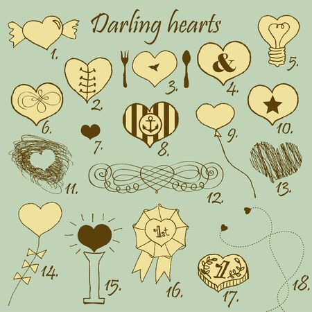 Set of stylized hand drawn hearts Stock Vector - 18224858
