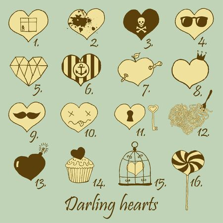Set of stylized hand drawn hearts  Stock Vector - 18224837