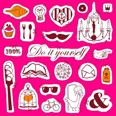 Vector set of hand drawn objects brightly colored  Vector