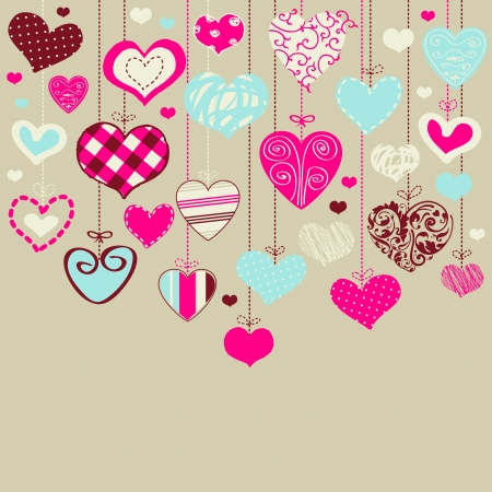 Romantic card with stylized hearts  Illustration