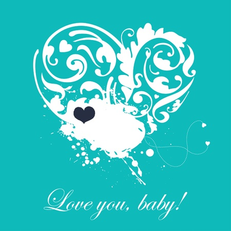 Abstract card with flying hearts Vector