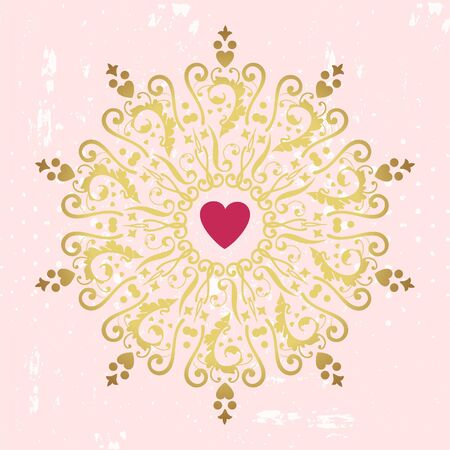 Circle golden ornament with heart  Vector