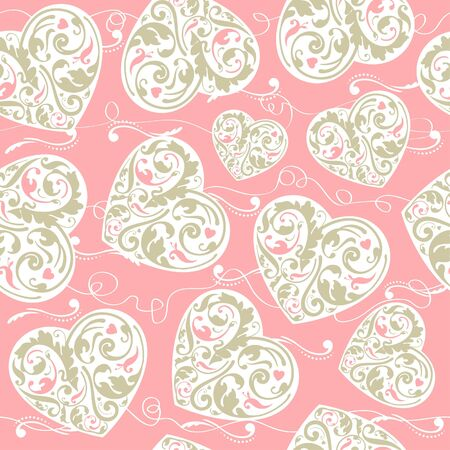 laced: Elegant laced seamless pattern with hearts Illustration