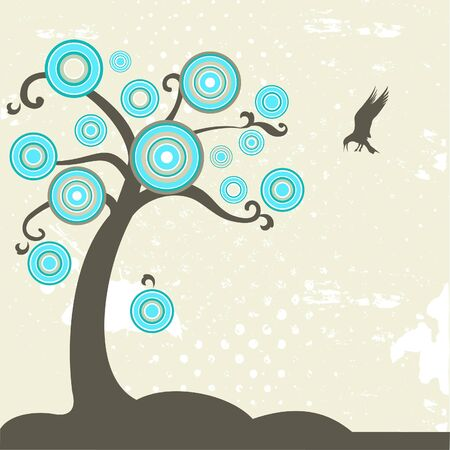 Abstract tree with rainbow circles and flying bird Vector