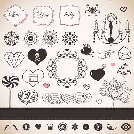 Lovely romantic set for Your design Stock Vector - 18456736