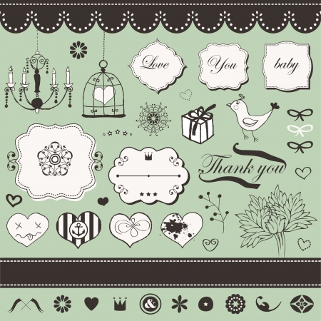 Lovely romantic set for Your design  Stock Vector - 18456707