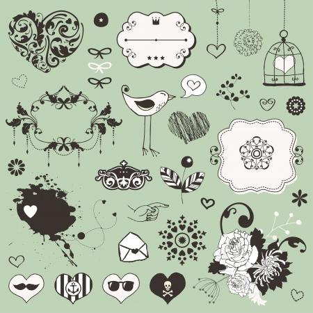 Mooie leuke set voor je eigen ontwerp met verschillende florale ornamenten
