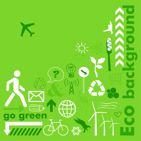 Green eco with icons Vector