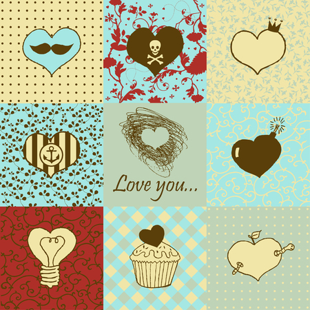 Stylish set of nine hand drawn hearts Stock Vector - 22654348
