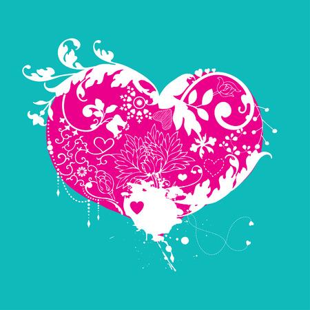 Decorative floral heart  Vector