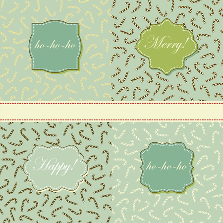 Set of retro patterns and frames with candy cane  Vector