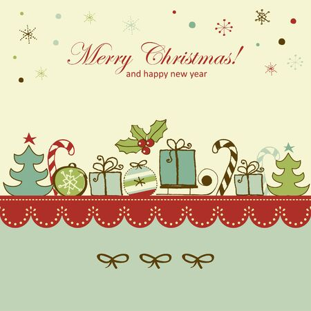 Retro Christmas and new year card Stock Vector - 22658022