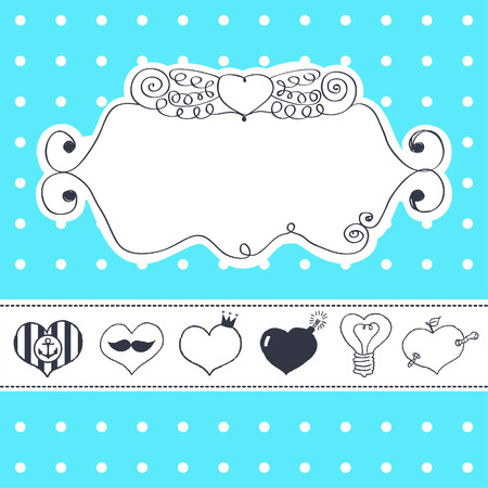 Lovely drawn card with darling hearts  Stock Vector - 22658031