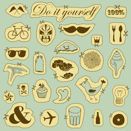 Vector set of hand drawn objects in vintage style  Vector