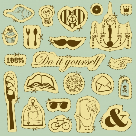 Vector set of hand drawn objects in vintage style Stock Vector - 22658493