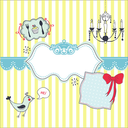 Lovely striped card with hand drawn elements  Vector