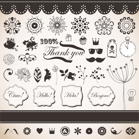 Vector set with vintage elements Stock Vector - 22658504