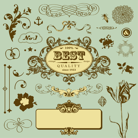 Vector set in vintage style Stock Vector - 22658501