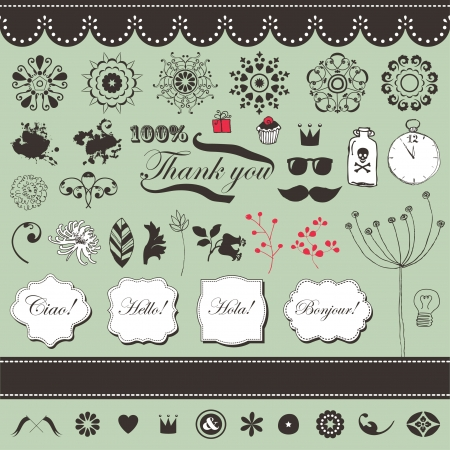 Vector set with vintage elements Stock Vector - 22658502