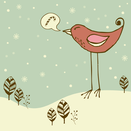 find similar images:    Find Similar Images Retro Christmas card with giant bird