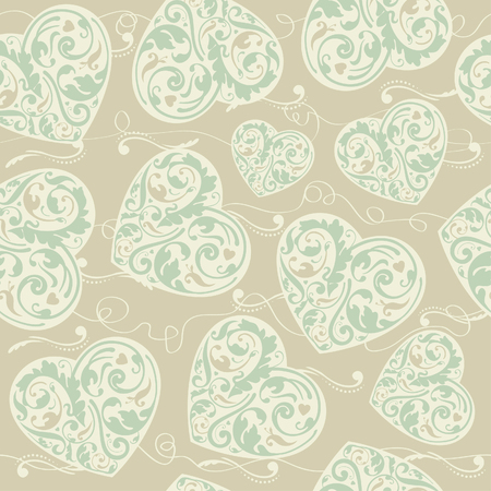 laced: Laced seamless pattern with stylized hearts  Illustration