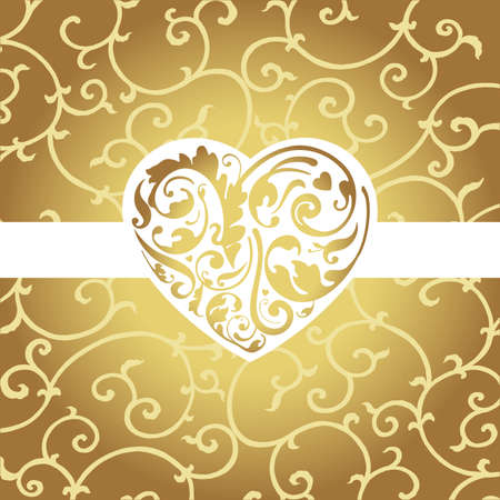 Elegant card with golden heart shape  Vector