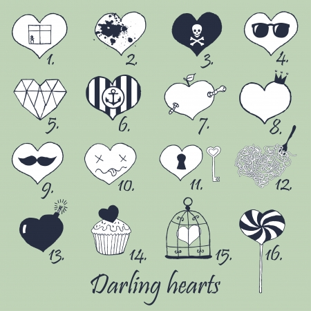 Set of stylized hand drawn hearts  Stock Vector - 22658911