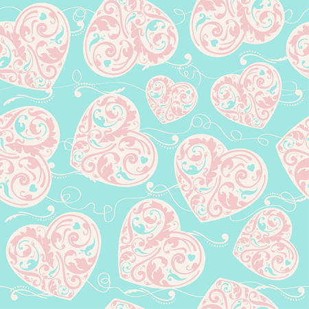 Laced seamless pattern with hearts  Vector