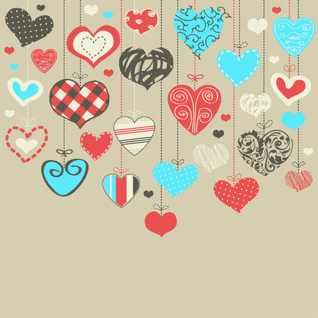 Romantic card with stylized hearts  Vector
