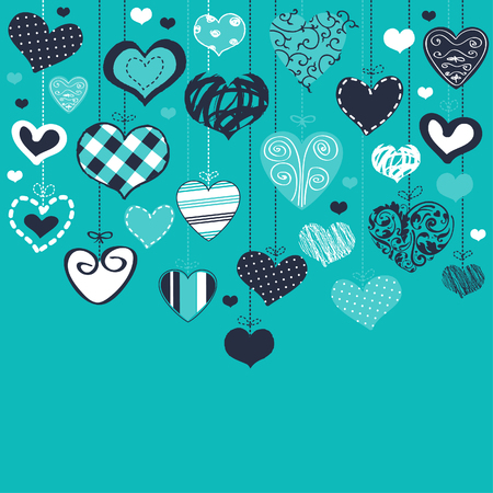 turquoise swirl: Romantic card with stylized hearts  Illustration
