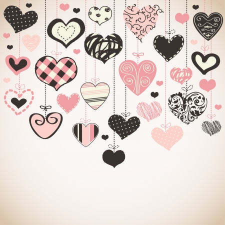 valentines card: Romantic card with stylized hearts  Illustration