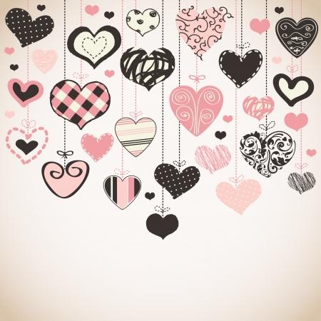 c cute: Tarjeta romántica con los corazones estilizados Vectores