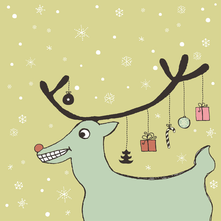 Retro Christmas card with friendly reindeer  Vector