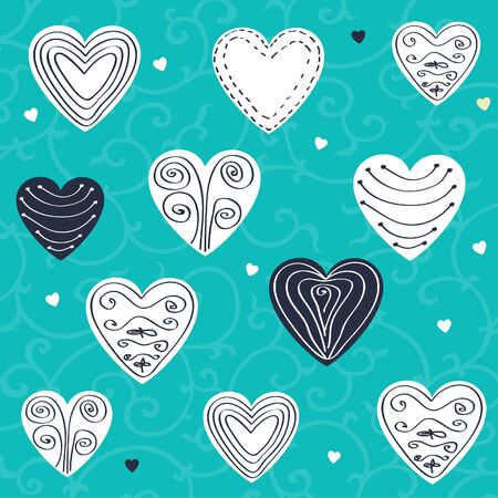 Romantic pattern with hand drawn hearts  Vector