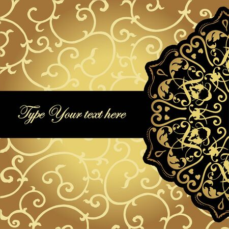 Elegant card with black golden element  Vector