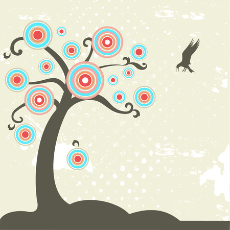 Fantasy tree with bird  Vector