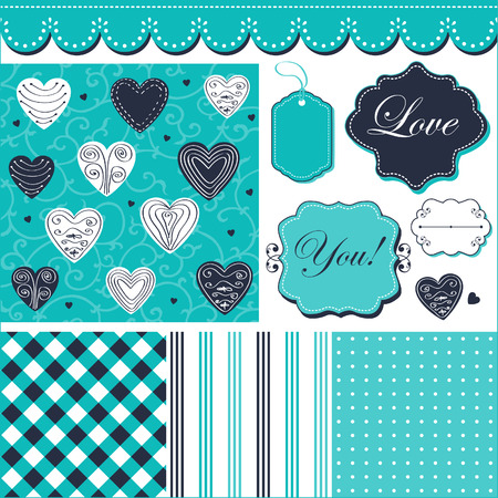 Vintage turquoise pattern, frames and cute romantic backgrounds  Vector