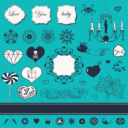 Lovely romantic set for Your design Stock Vector - 22712308