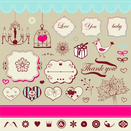 Lovely romantic set for Your design  Illustration