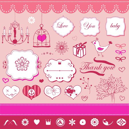 Lovely cute set for Your design  Vector