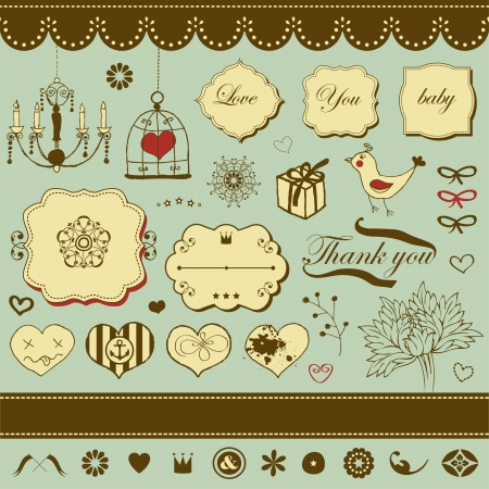 Lovely romantic set for Your design Stock Vector - 22712343