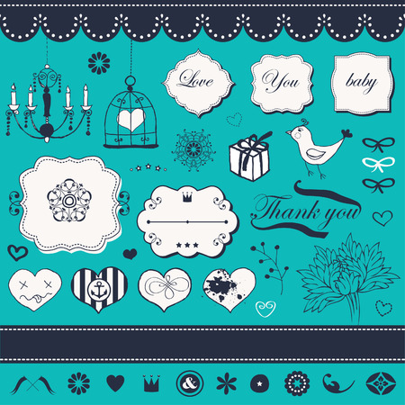 Lovely romantic set for Your design Stock Vector - 22712345