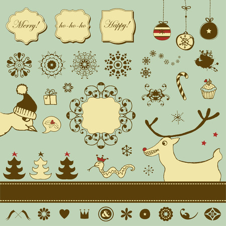 Vintage Christmas set with funny animals  Vector